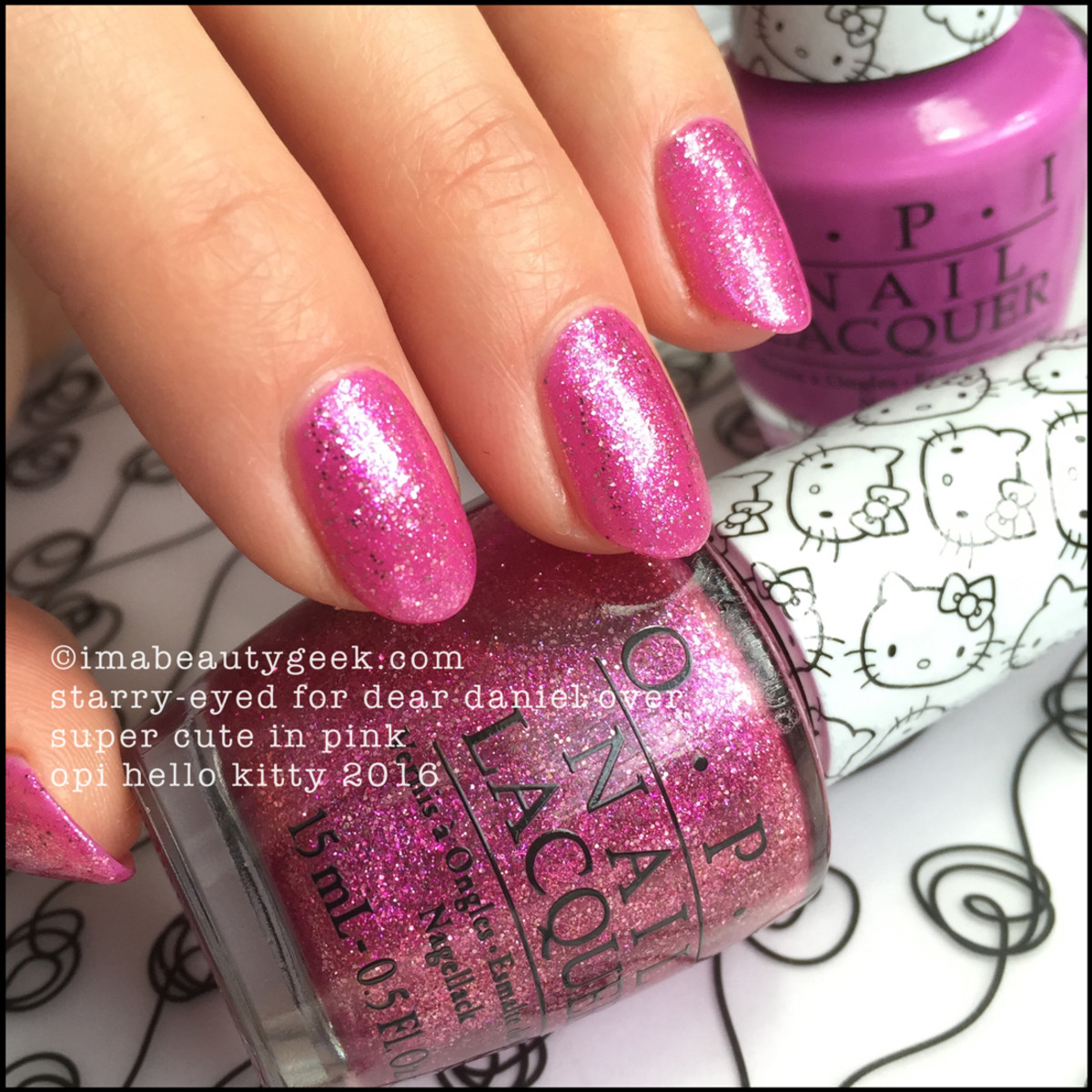 OPI Hello Kitty Swatches_OPI Starry Eyed for Dear Daniel over OPI Super Cute in Pink