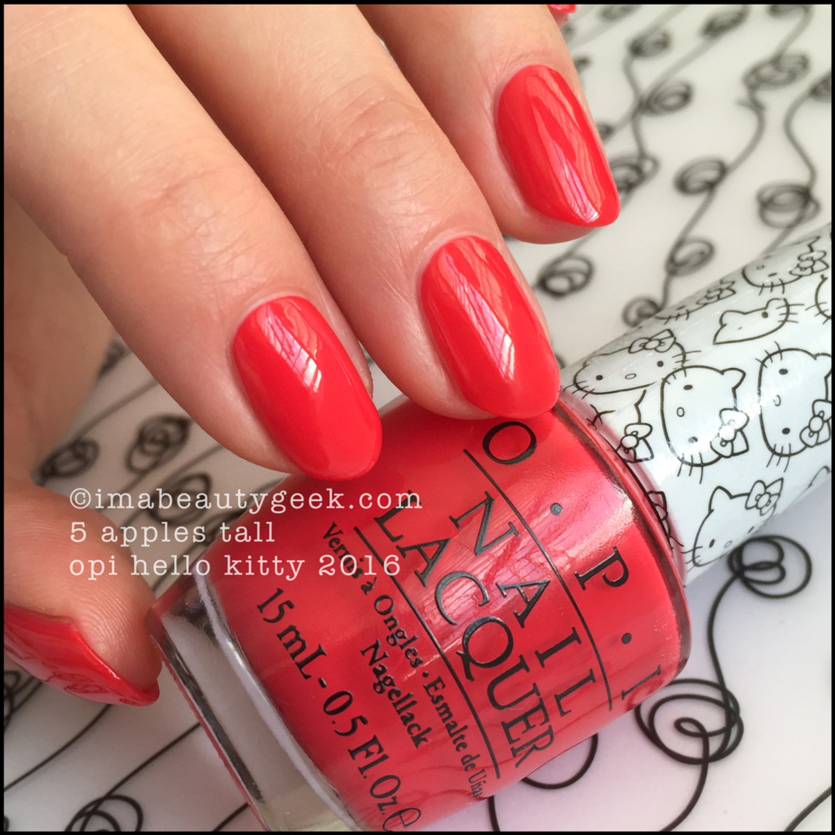 OPI Hello Kitty Swatches Review_OPI 5 Apples Tall