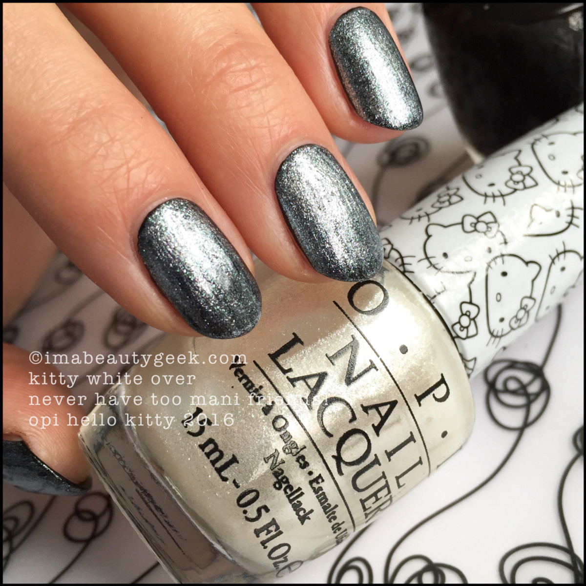 OPI Hello Kitty_OPI Kitty White over OPI Never Have Too Mani Friends