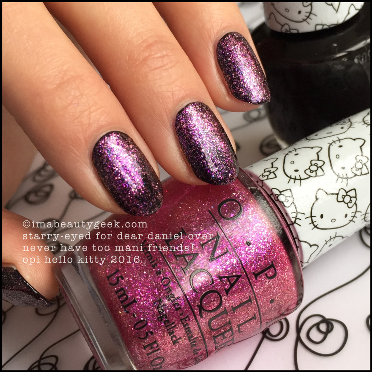 OPI Starry Eyed For Dear Daniel over Black_OPI Hello Kitty 2016 Swatches Review