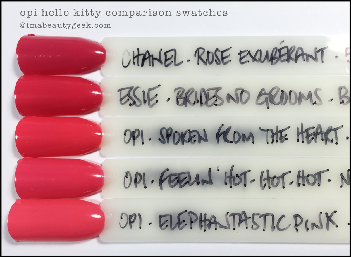 OPI Spoken from the Heart Comparison Swatches_OPI Hello Kitty Collection 2016