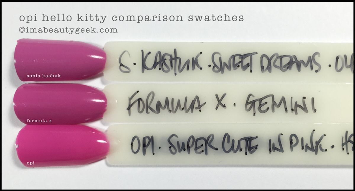 OPI Super Cute in Pink Comparison Swatches_OPI Hello Kitty 2016