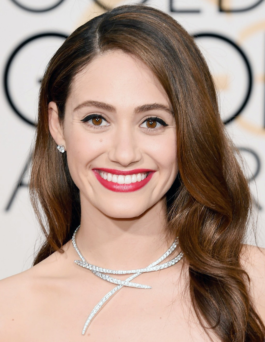 Emmy Rossum at the 2016 Golden Globes; makeup by Jo Baker.