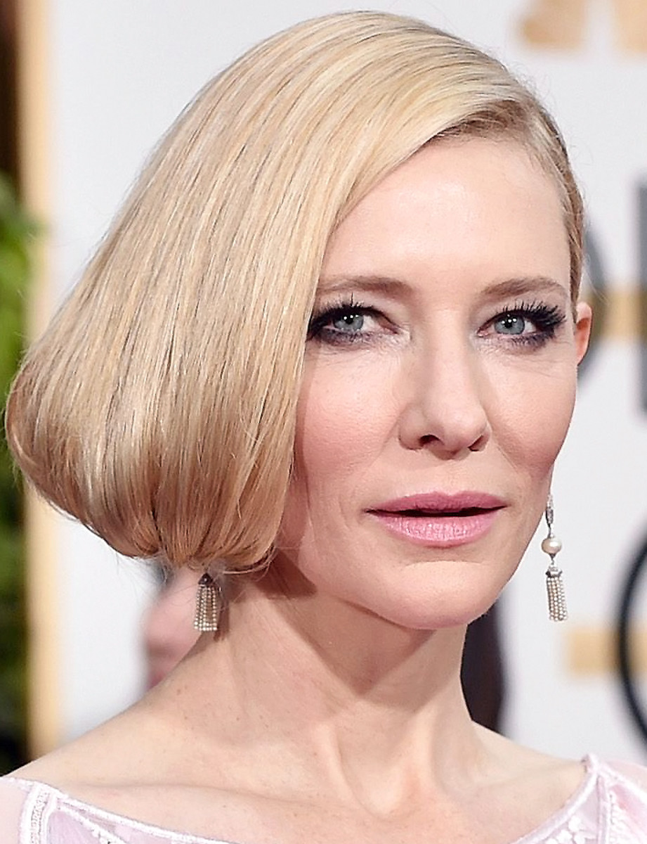 Cate Blanchett at the 2016 Golden Globes; makeup by Jeanine Lobell