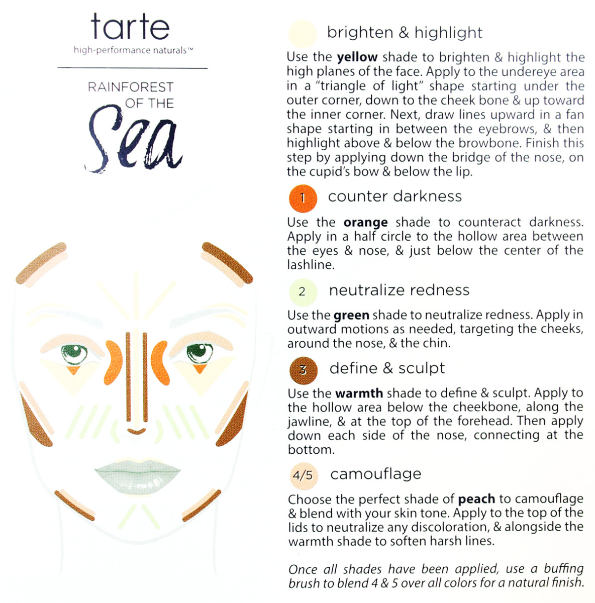 Tarte Rainforest of the Sea Wipeout Color-Correcting Palette guide (at sephora.ca) www.imabeautygeek.com