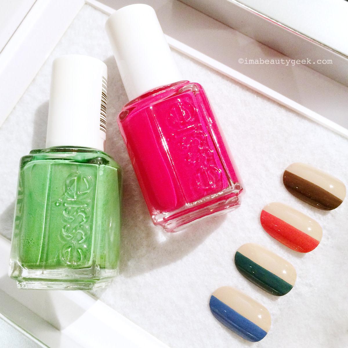 essie split-screen multi-colour manicure shades