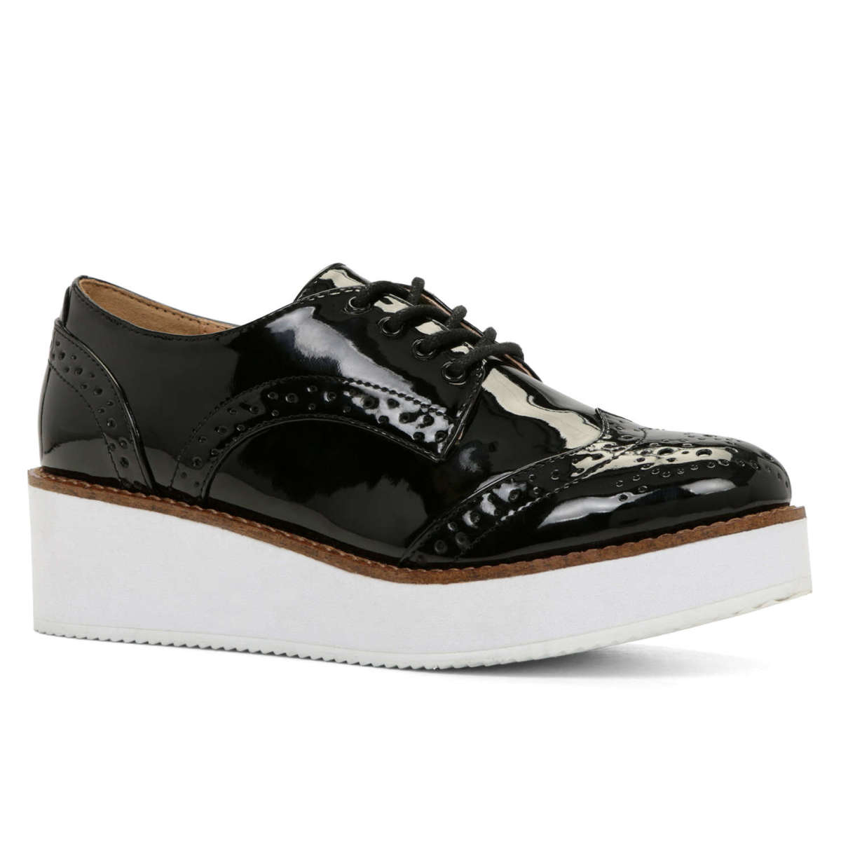 Aldo TABORRI flatform patent brogues ($70 CAd and $70 USd at aldo.com) – they also come in gold.