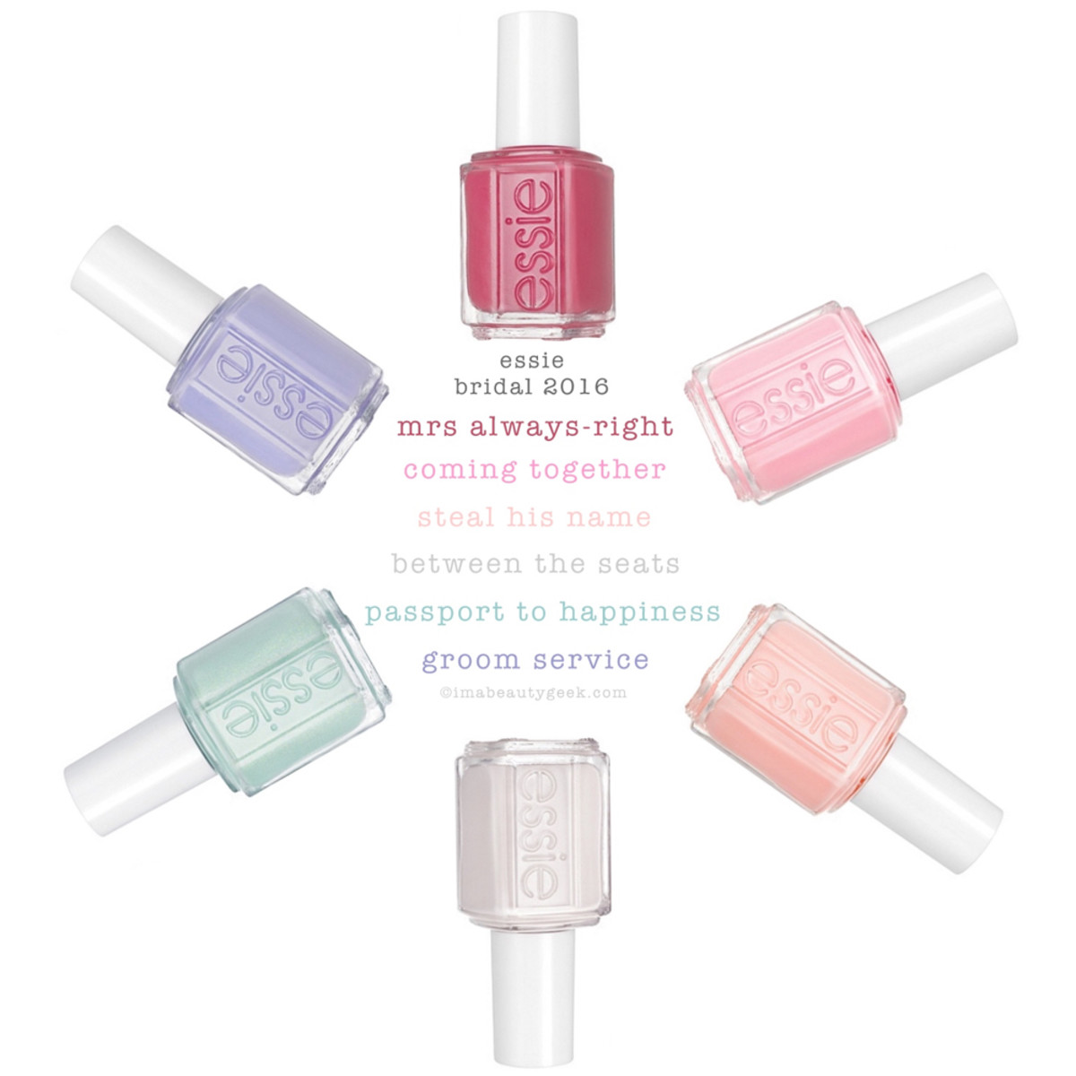 Essie Bridal 2016 Collection with Shade Names