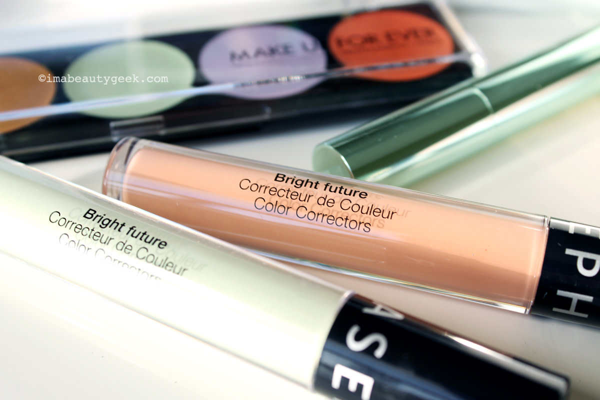 simplifying color correcting_Sephora Collection Bright Future Color Correctors_green and melon