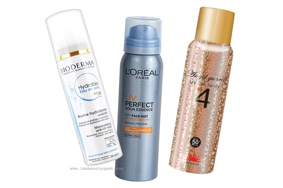 Water-light sunscreen sprays: Bioderma Hydrabio Eau de Soin SPF 30; L'Oréal Paris UV Perfect City Face Mist SPF 50; Angel Guard UV Cut Spray SPF 50.