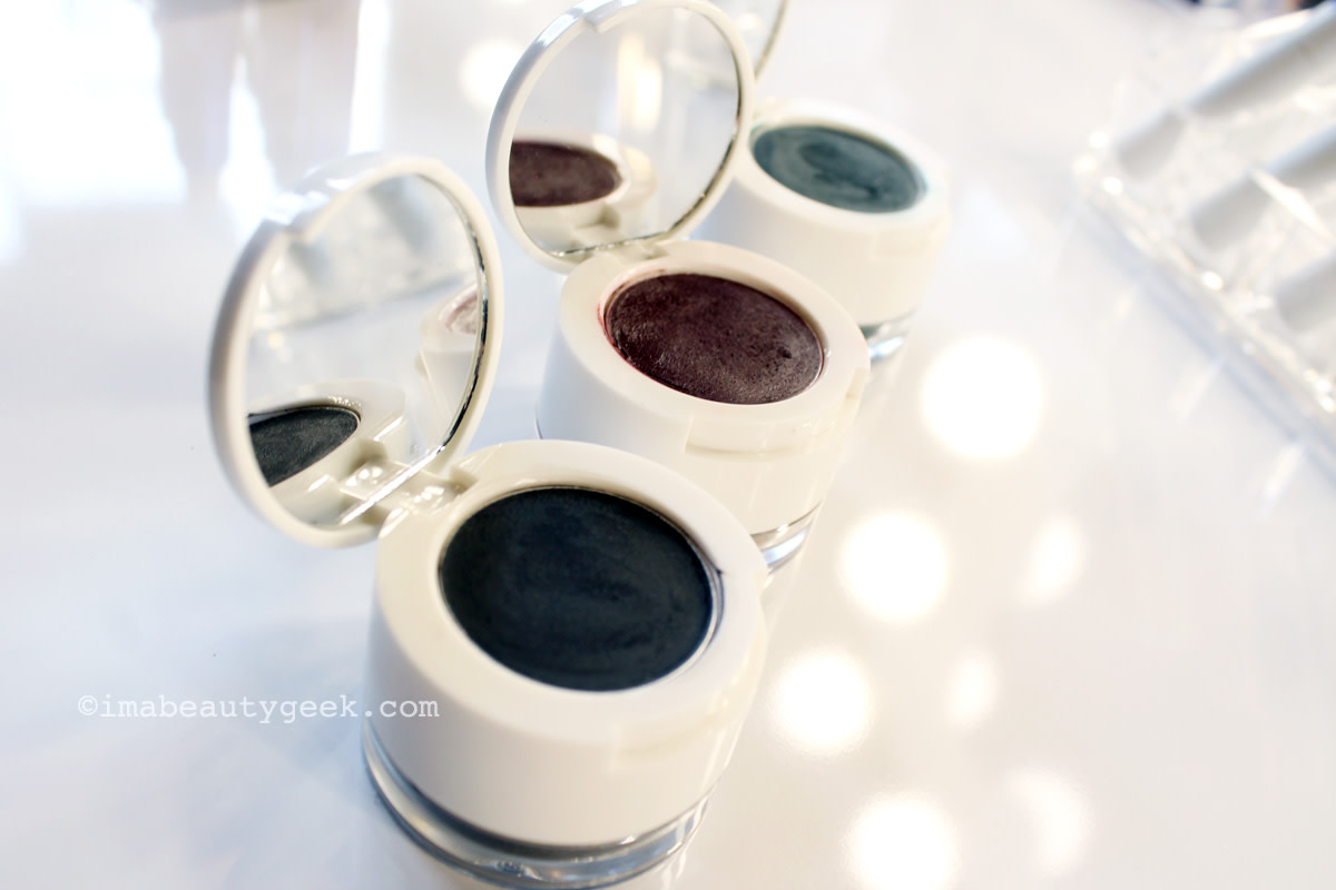 The Estée Edit Metallishadow Crème + Powder in Black Star, Scarlet Eclipse and Aqua Nova