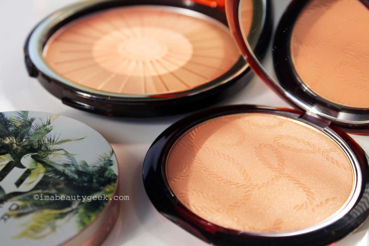 How to apply bronzer for Spring and for summer: (from top) Clarins Summer 2016 bronzer + blush, Guerlain Terracotta, Urban Decay Beached Bronze