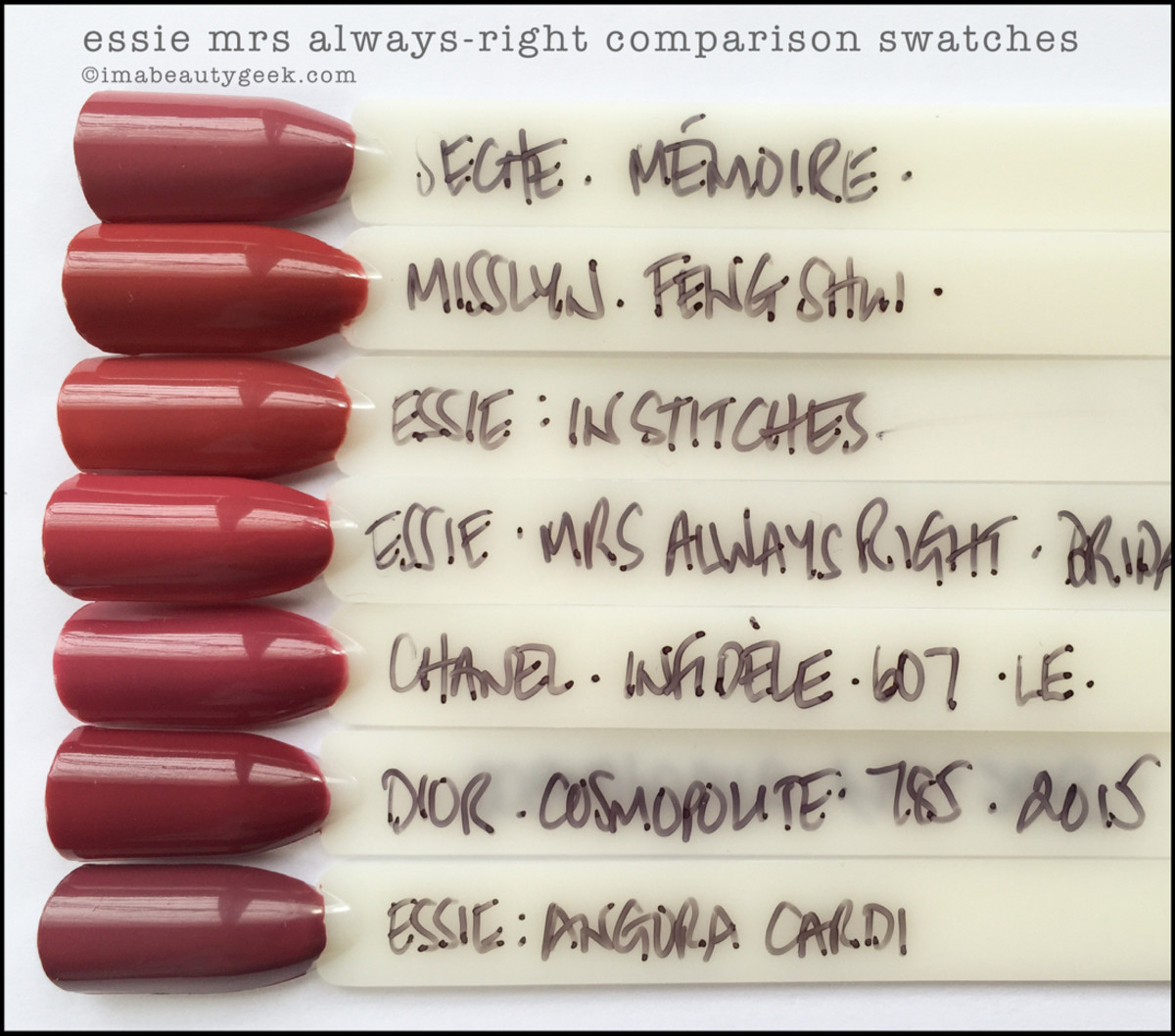 Essie Mrs Always Right Comparison Swatches_Essie Bridal 2016 Collection