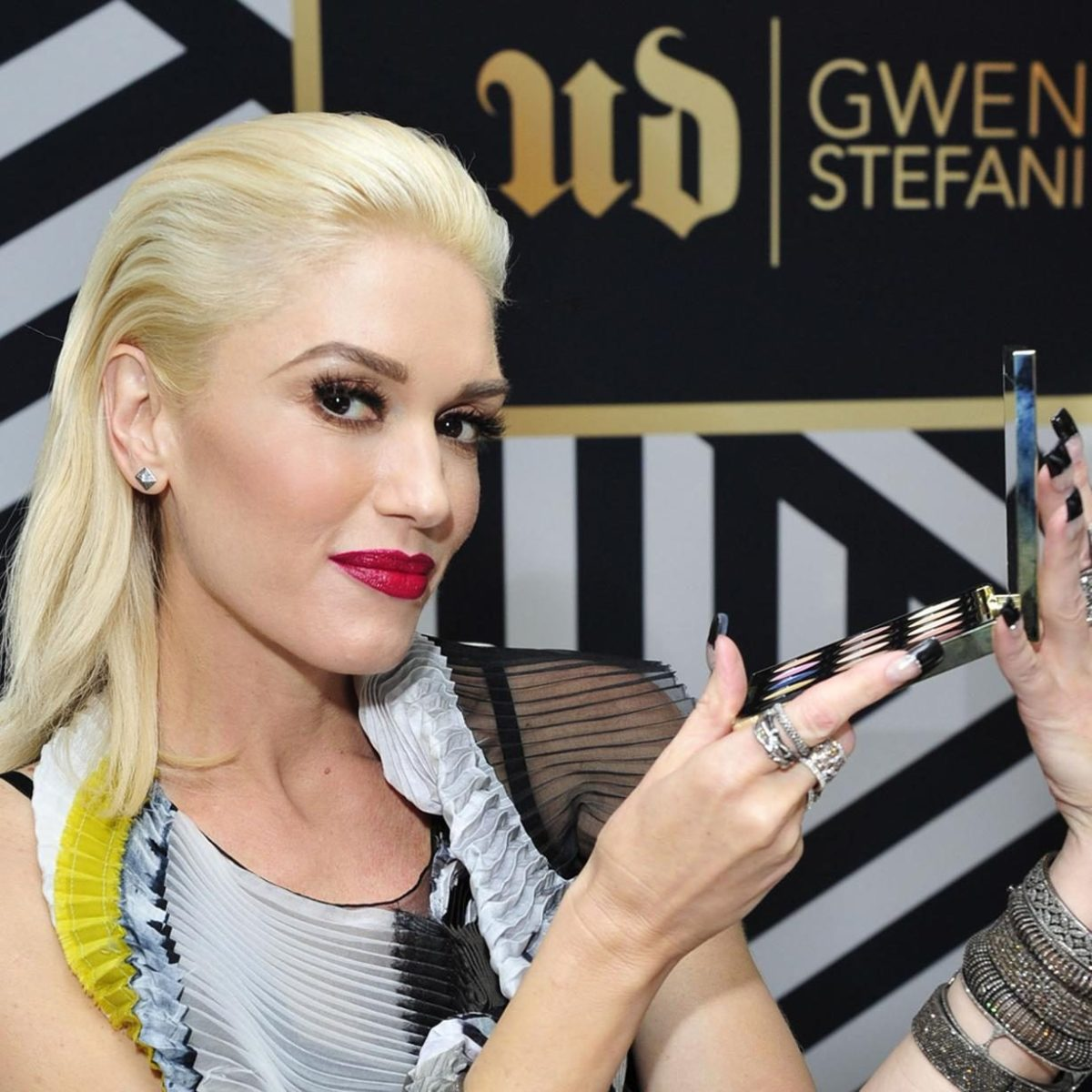 Gwen Stefani signature red lips and bold liner