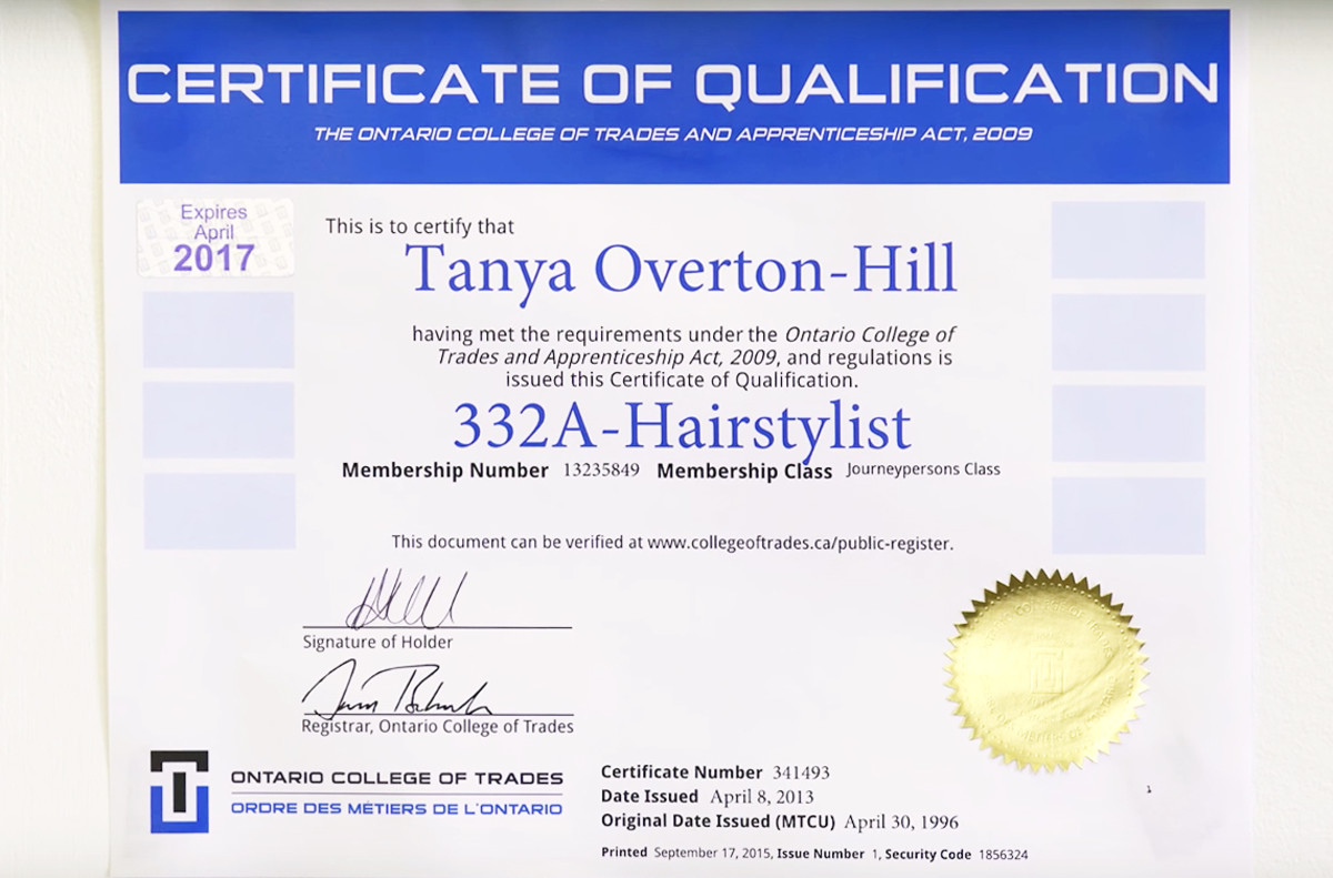 Ontario College of Trades hairstylist membership certificate