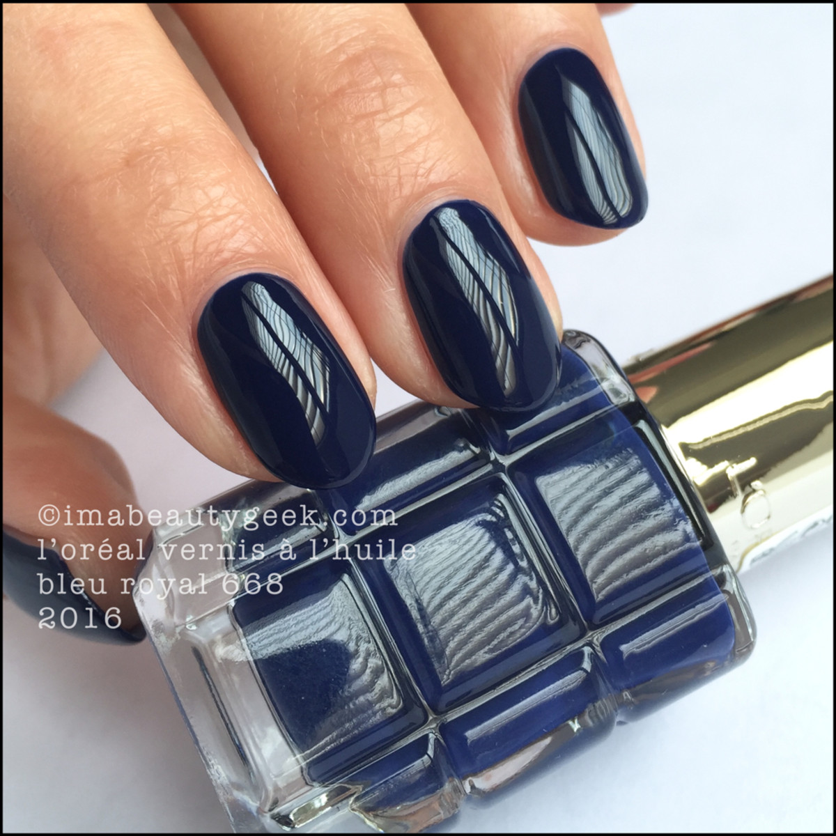 LOreal Vernis a LHuile Nail Polish Swatches_LOreal Bleu Royal 668 Polish
