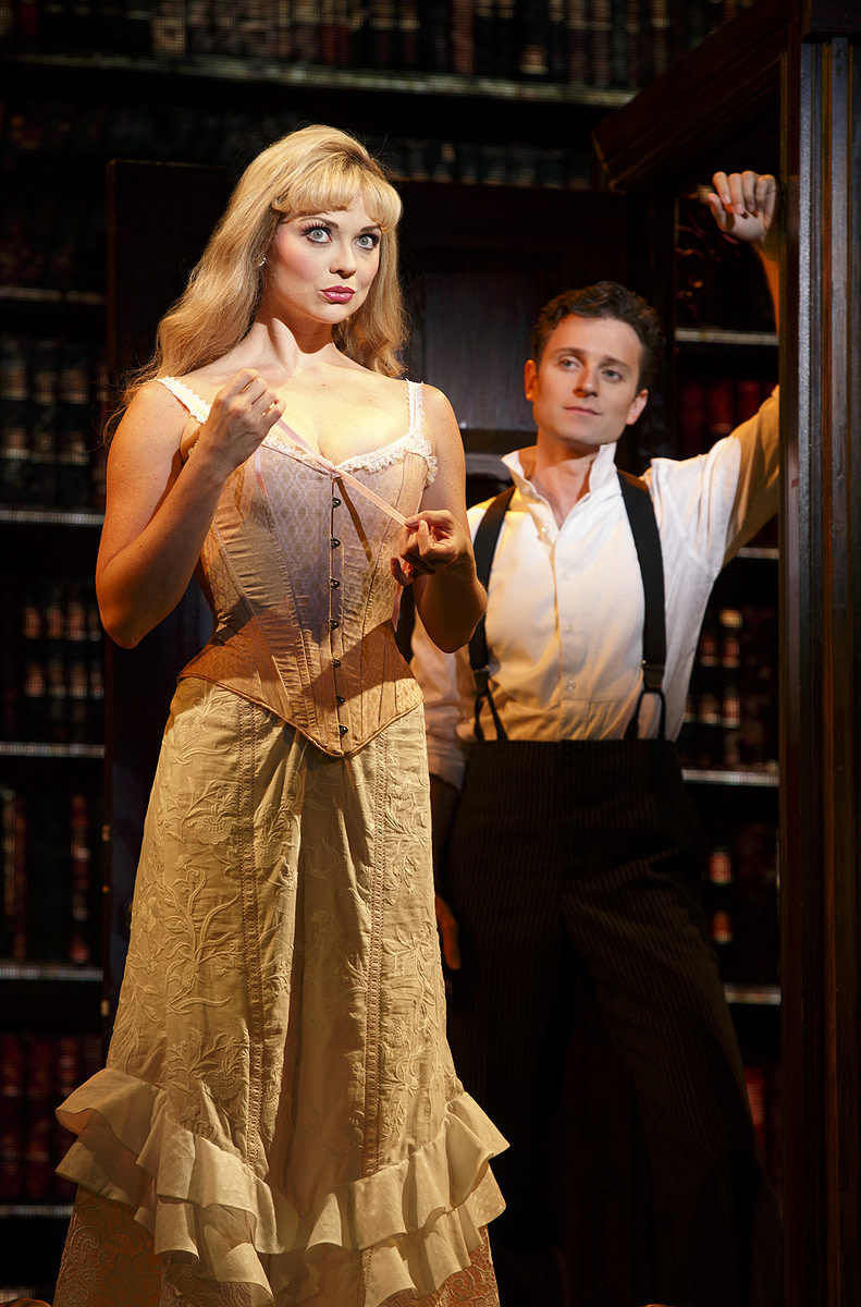 Kristen Beth Williams as Sibella Hallward and Kevin Massey as Monty Navarro in a scene from the A Gentleman's Guide to Love & Murder.