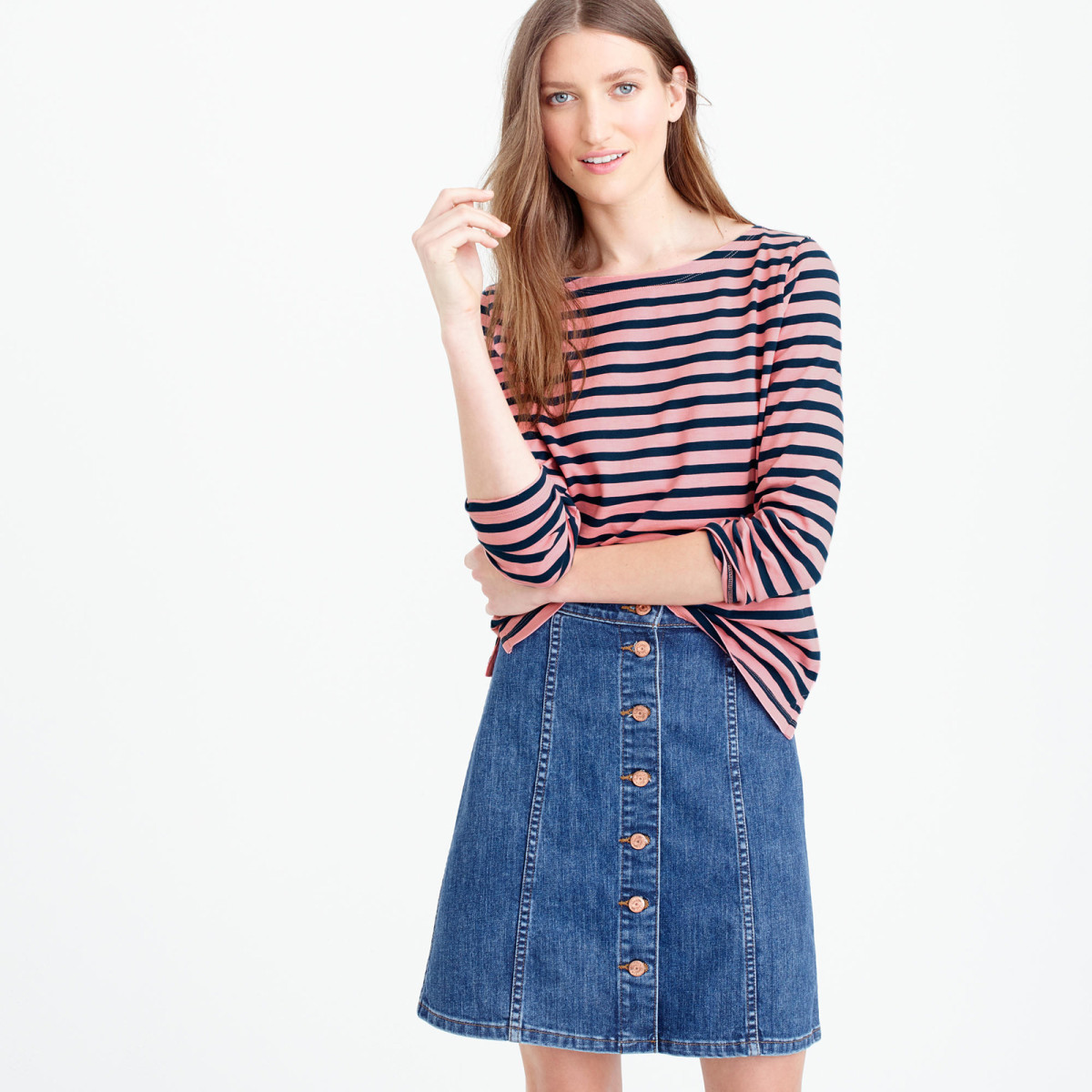 jcrew peony caravan blue striped boatneck