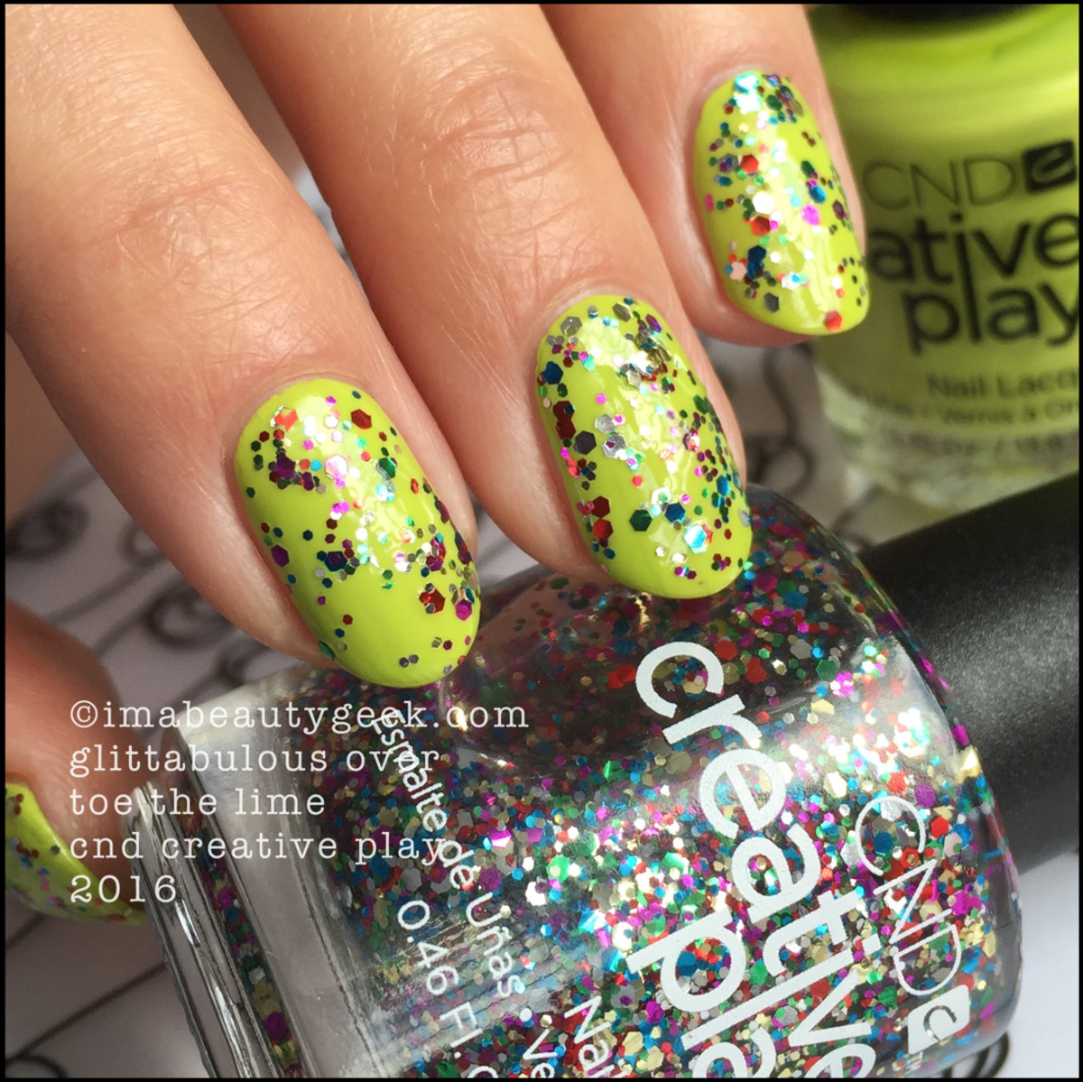 CND Creative Play Glittabulous over Toe The Lime_CND Creative Play Nail Polish Swatches 2016