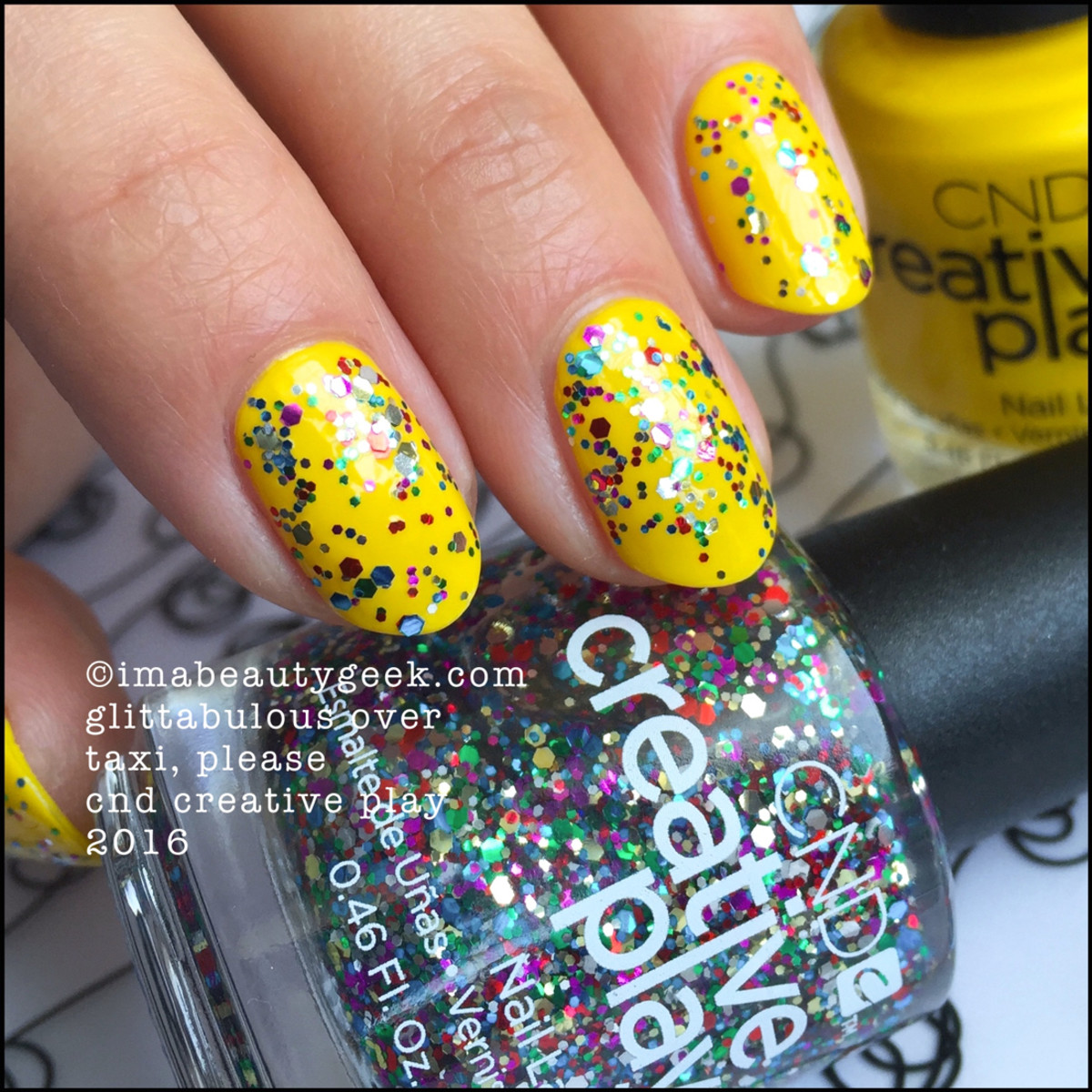 CND Creative Play Glittabulous over Taxi Please_CND Creative Play Nail Polish Swatches