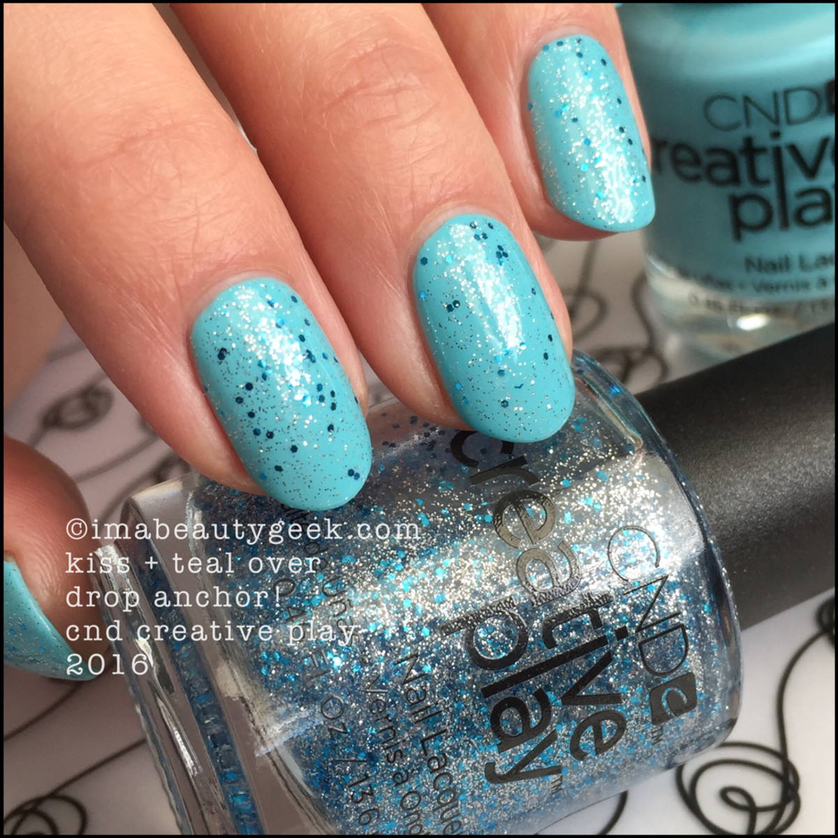 CND Creative Play Kiss + Teal over Drop Anchor_CND Creative Play Nail Polish Swatches 2016