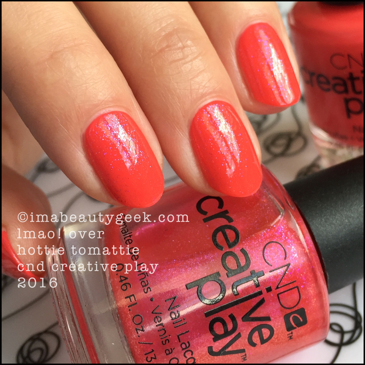 CND Creative Play LMAO over Hottie Tomattie_CND Creative Play Nail Polish Swatches