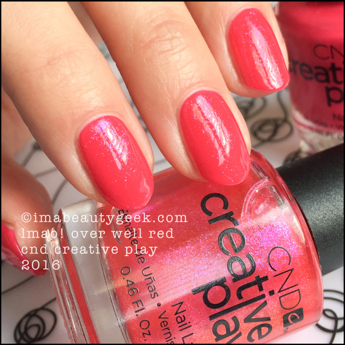 CND Creative Play LMAO over Well Red_CND Creative Play Nail Polish Swatches