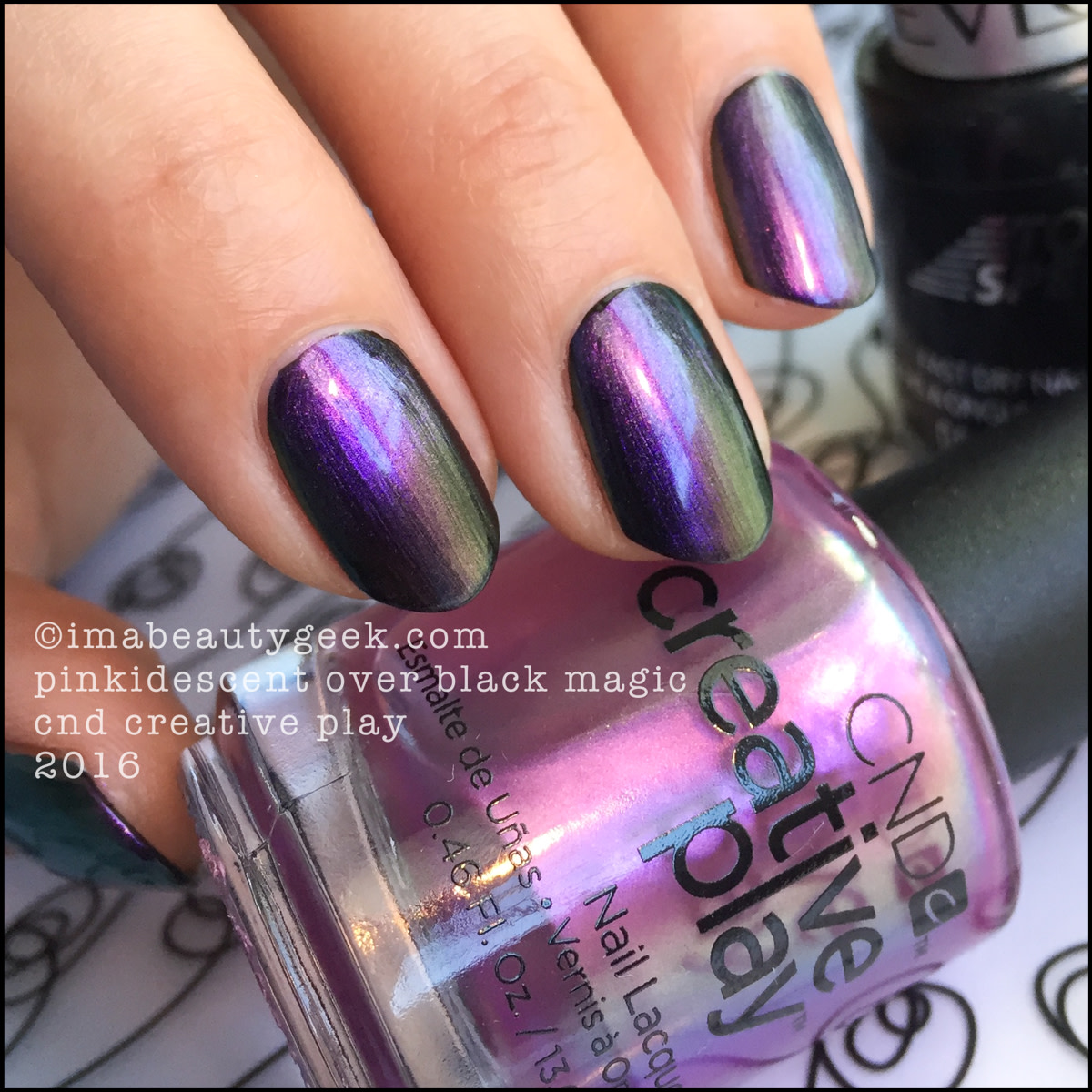 CND Creative Play Pinkidescent over Black Magic_CND Creative Play Nail Polish Swatches