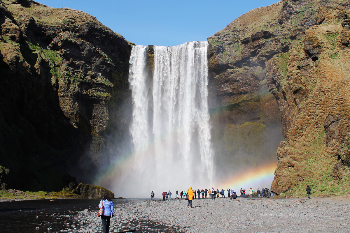 Skogarfoss falls. Reykjavik Excursions, south Iceland tour.