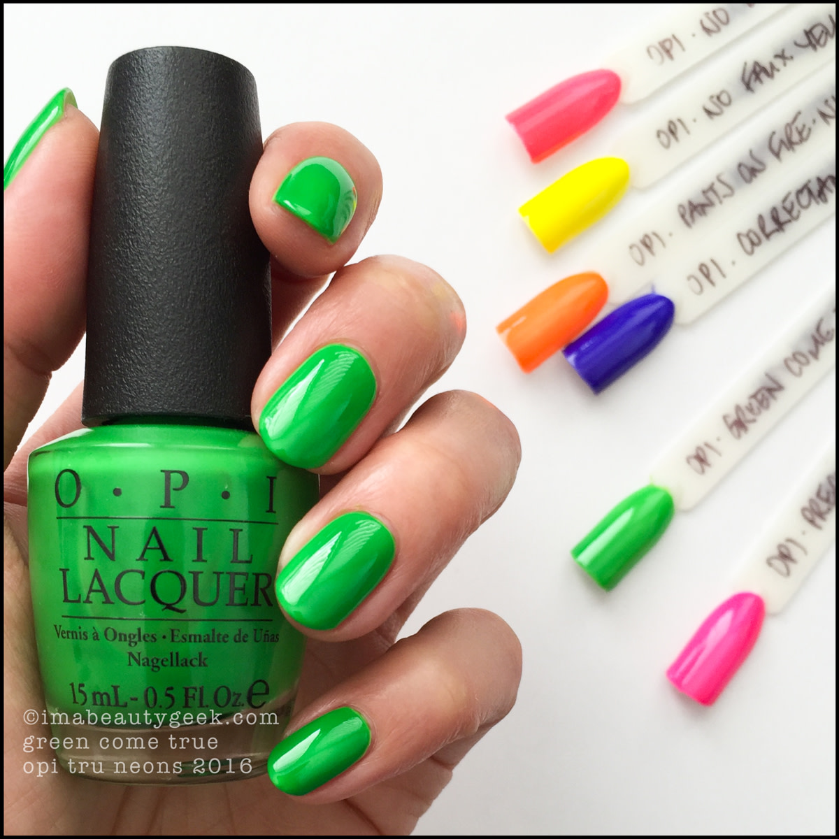 OPI Green Come True_OPI Tru Neons 2016 Swatches Review