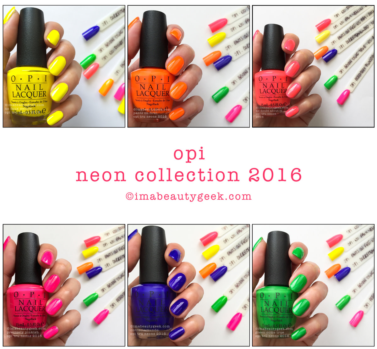 OPI Neon Collection 2016_OPI Tru Neons 2016 Swatches Revies - Version 2