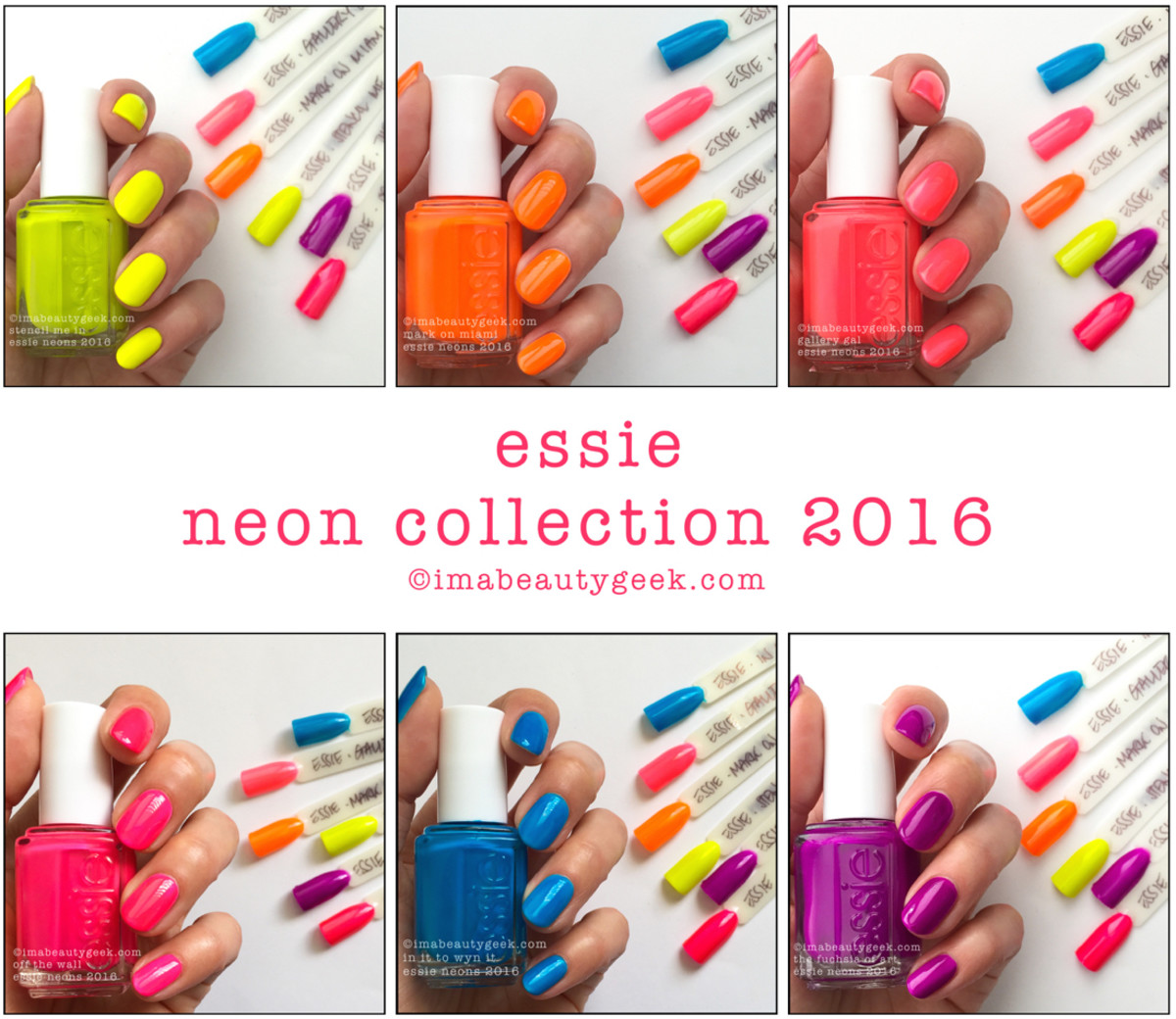 Essie Neon Collection 2016 Swatches Review - Version 3