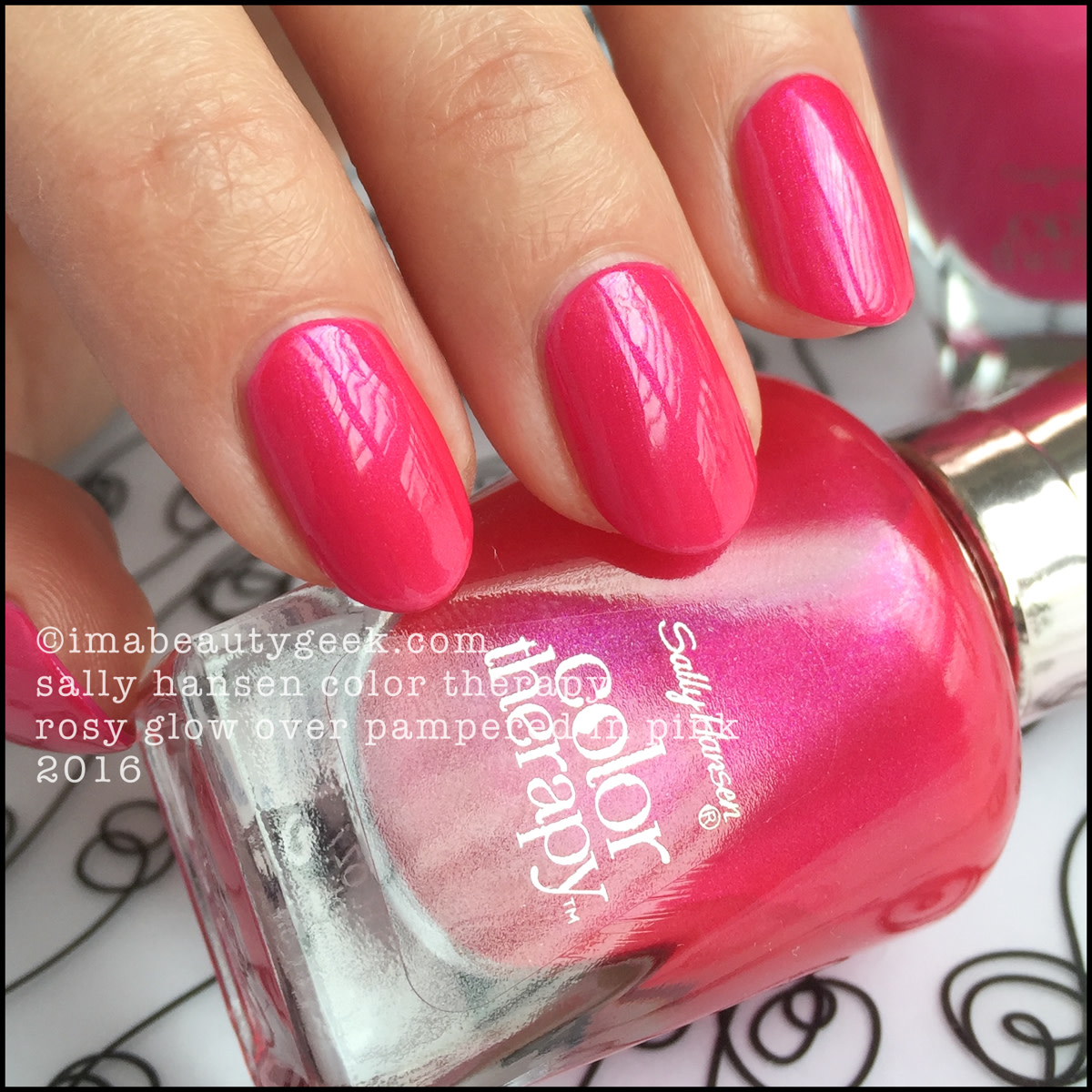 Sally Hansen Color Therapy Rosy Glow over Pampered in Pink_Sally Hansen Color Therapy Swatches Review