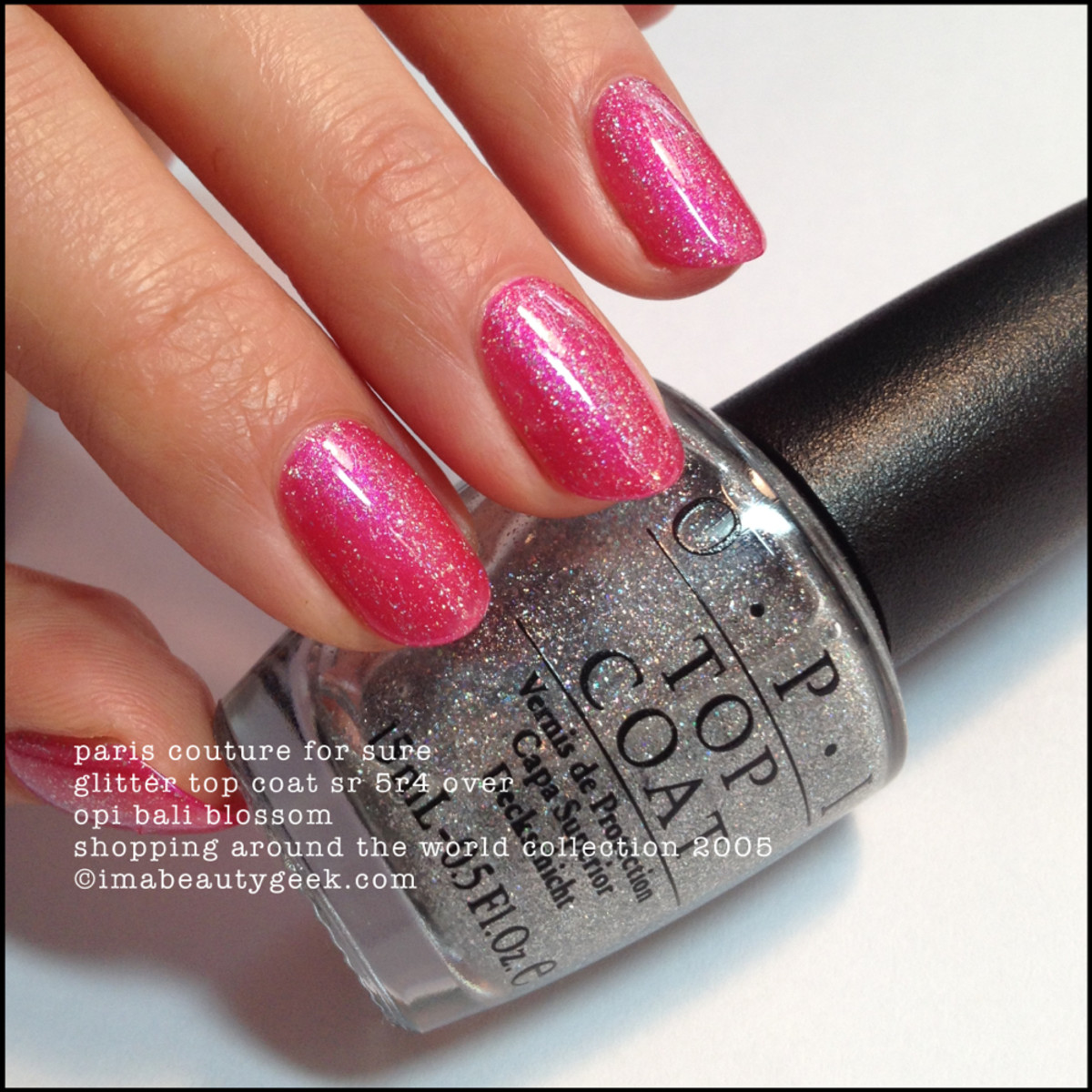 OPI Paris Couture for Sure Top Coat over OPI Bali Blossom