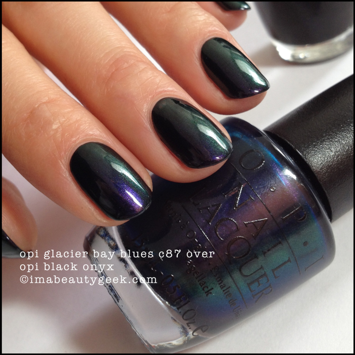 OPI Glacier Bay Blues Canadian Collection 2004 over OPI Black Onyx