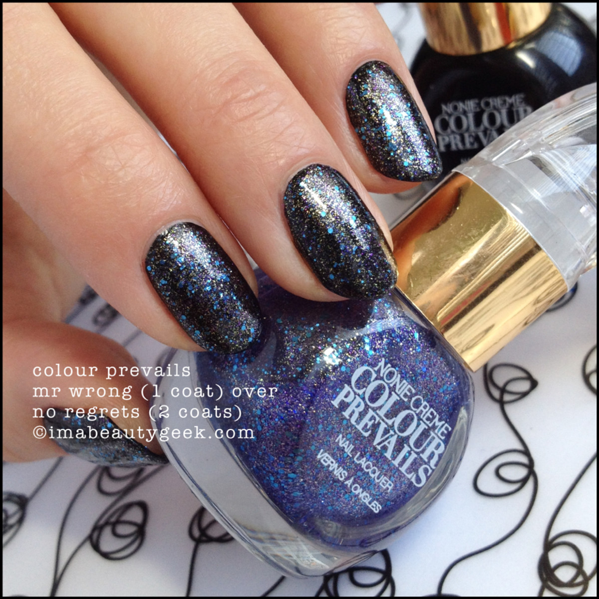 Colour Prevails Mr Wrong over No Regrets Nail Polish by Nonie Creme