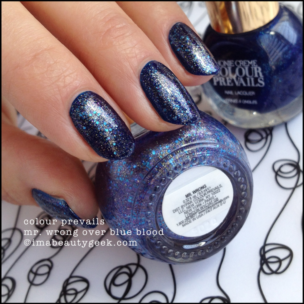 Colour Prevails Mr Wrong over Blue Blood Nail Polish by Nonie Creme