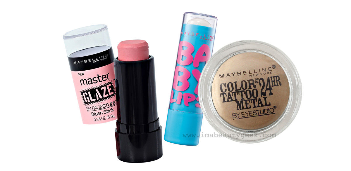 Gigi Hadid makeup_MMVAs_cheeks_Master Glaze Blush Stick, Baby Lips balm, Color Tattoo metals Barely Branded