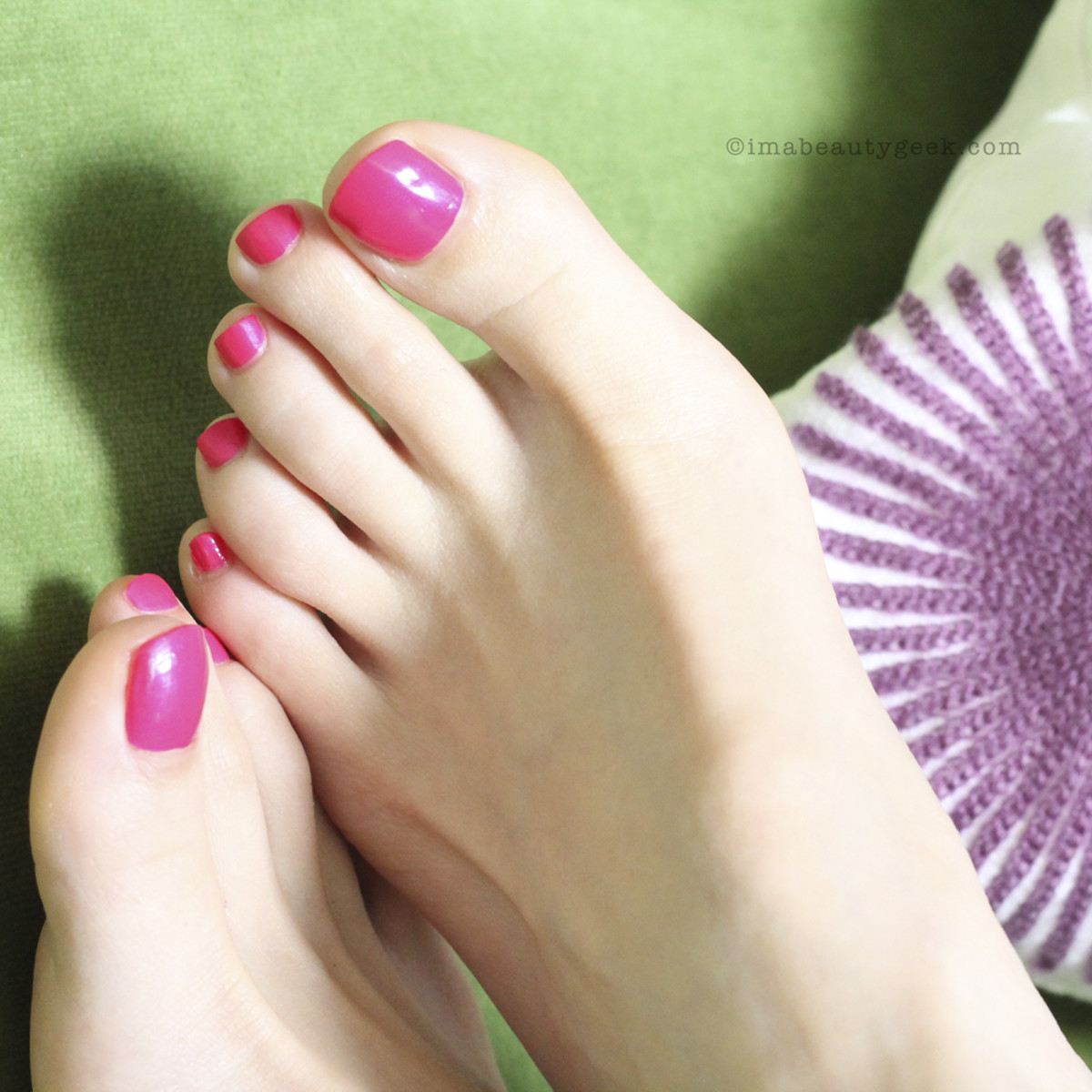 Pedicure with Sally Hansen Complete Salon Manicure in Back to the Fuchsia