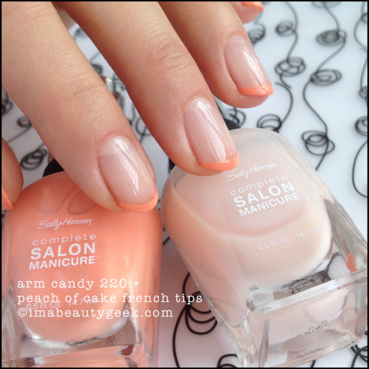 Tone-on-tone modern french mani in Sally Hansen Complete Salon Manicure in Arm Candy and Peach of Cake