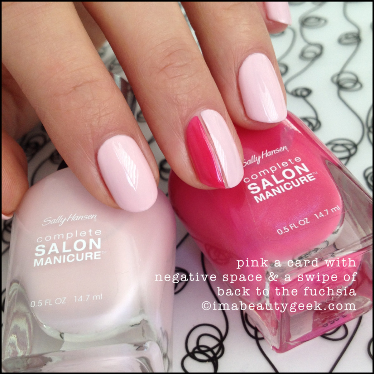 Tone-on-tone negative-space mani with Sally Hansen Complete Salon Manicure in Pink a Card and Back to the Fuchsia