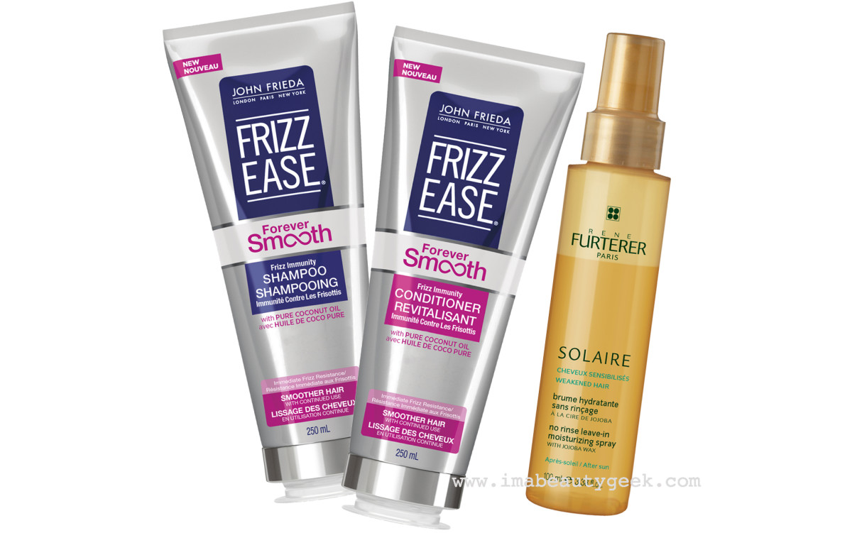 John Frieda Forever Smooth shampoo and conditioner + Rene Furturer Solaire Leave-In Spray