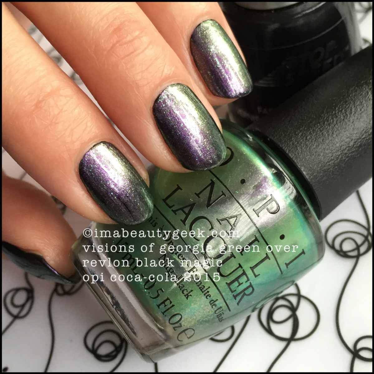 OPI Coca-Cola 2015 OPI Visions of Georgia Green over Black