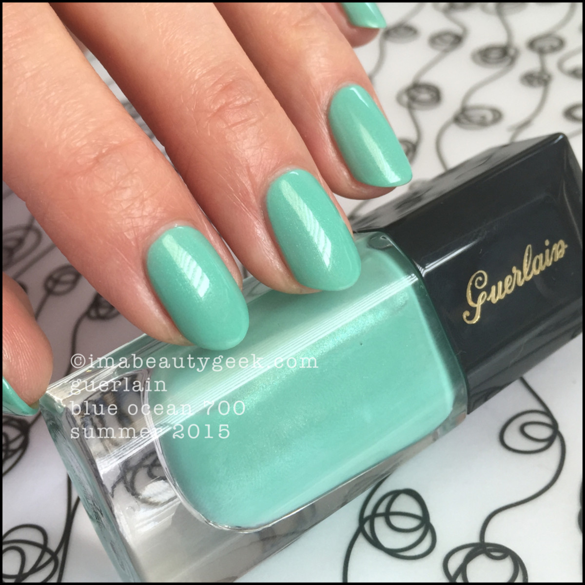 Guerlain Blue Ocean Nail Polish Swatch two coats