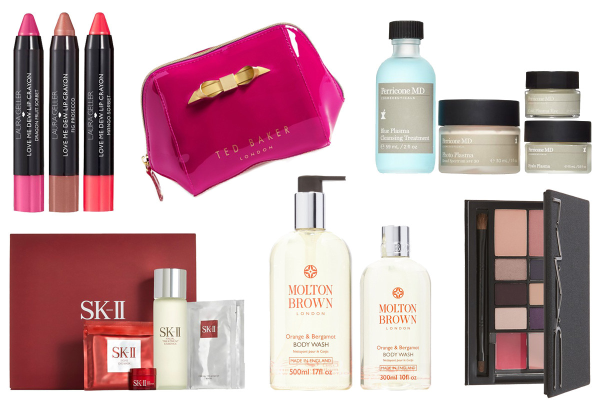 Nordstrom Anniversary Sale beauty exclusives: Laura Gellar Love Me Dew Lip Crayons, Ted Baker London cosmetics case, Perricone MD The Plasma Essentials, SK-II Bestsellers Set; Molton Brown Orange & Bergamot Body Wash; MAC Look in a Box in Style Maven