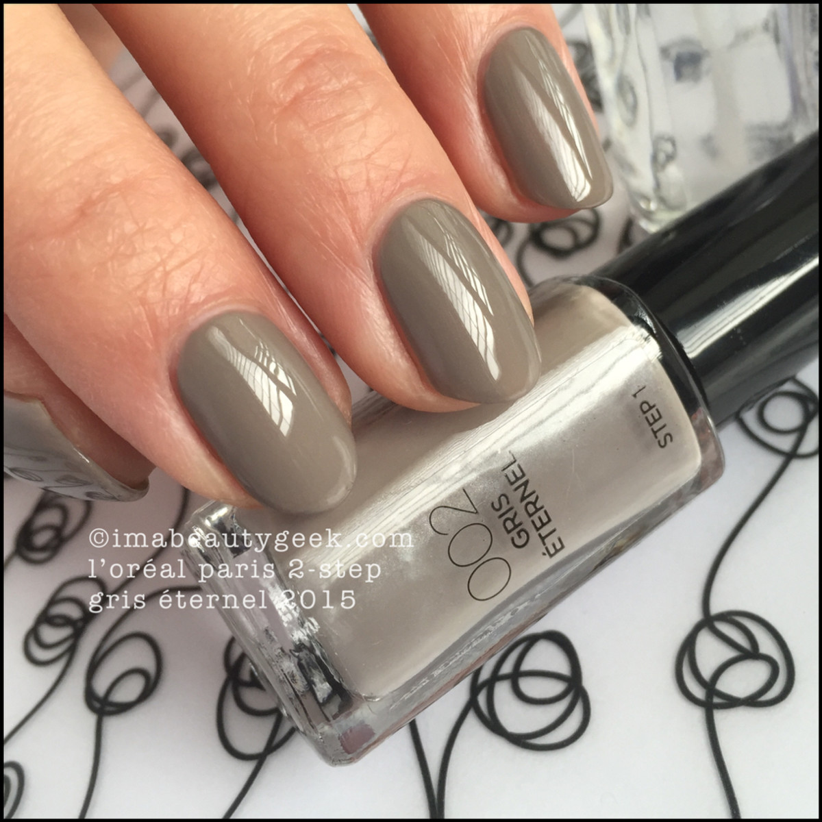 LOreal Paris 2-Step Nail Polish Gris Eternel Swatch