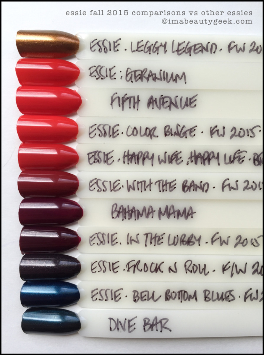 Essie Fall 2015 Comparison Swatches Beautygeeks