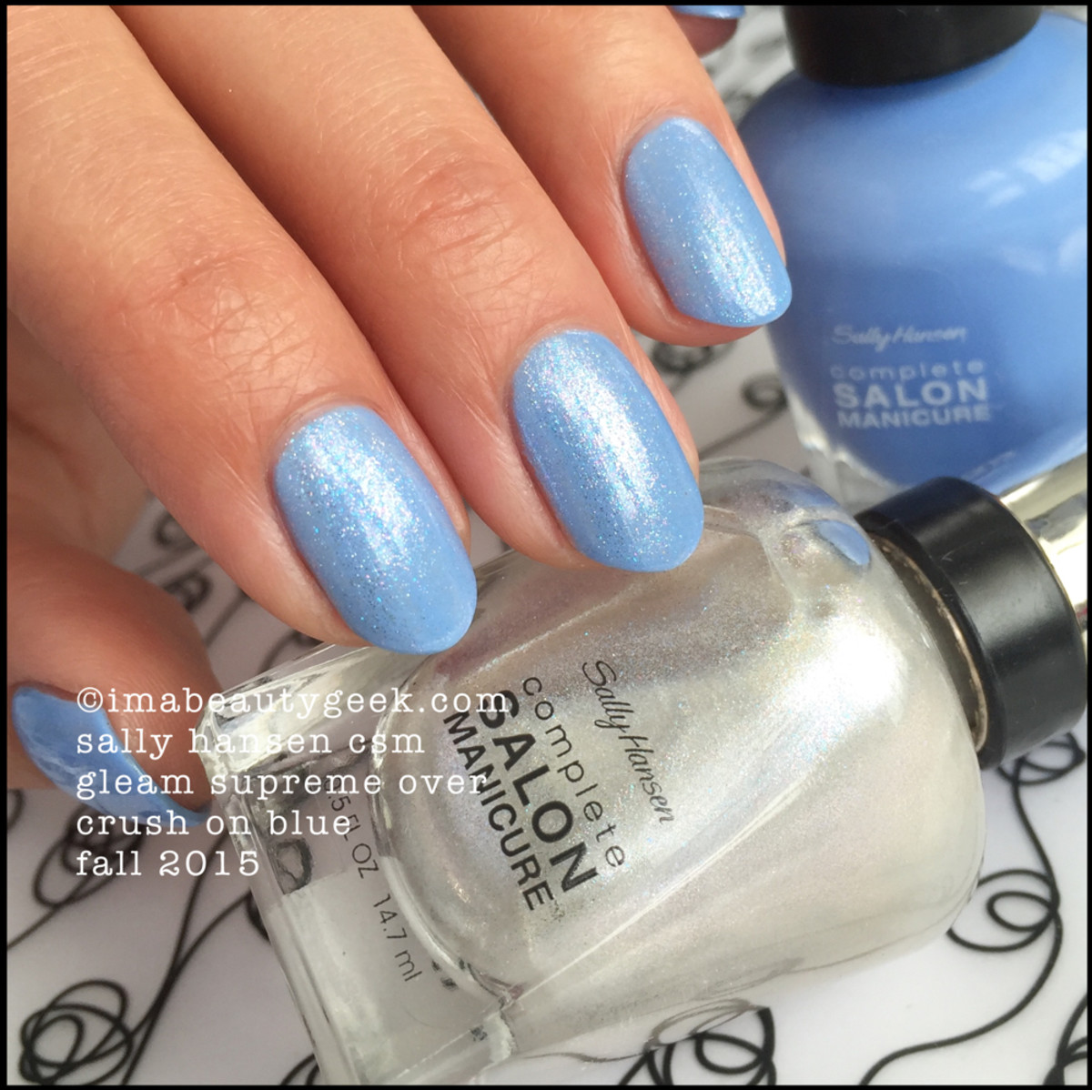 Sally Hansen Gleam Supreme over Crush on Blue CSM Fall 2015