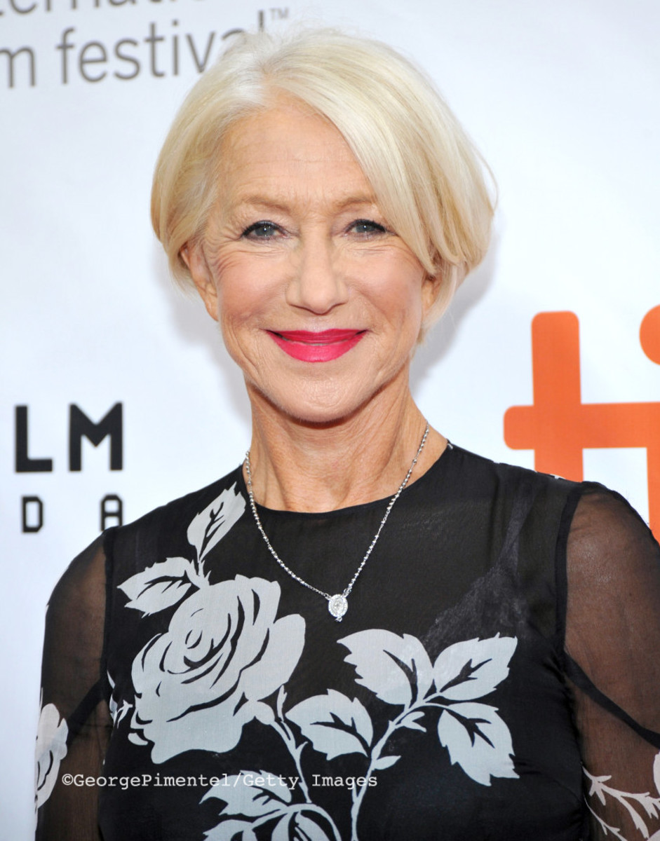Dame Helen Mirren on the TIFF 2015 red carpet for Eye in the Sky.undefinedHair by Dicky Collins.