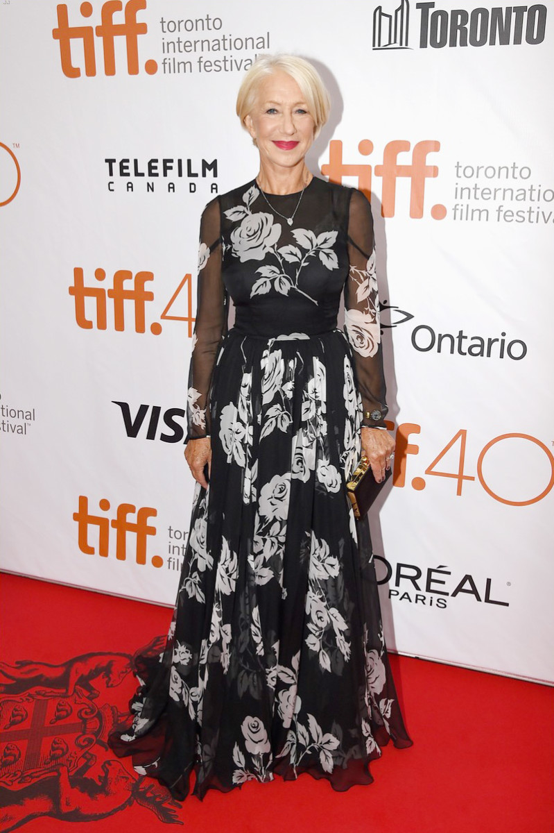 Dame Helen Mirren in a Dolce & Gabanna gown at the TIFF 2015 premiere of Eye in the Sky